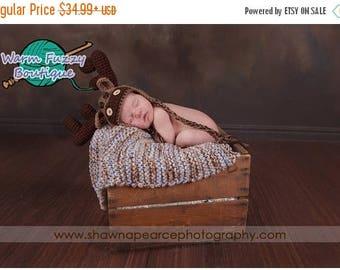 SUMMER SALE Baby Moose Earflap Hat Cafe & Dark Brown - Crochet Newborn Beanie Boy Girl Costume Christmas  Photo Prop Cap Winter Outfit