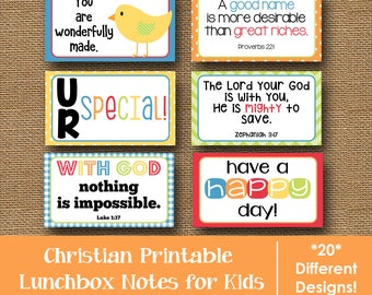 Lunch Box Notes for Kids   Bible Verse Lunchbox Notes   Happy Lunch Love Notes   Scripture Lunch Cards   Christian School   DIY PRINTABLE