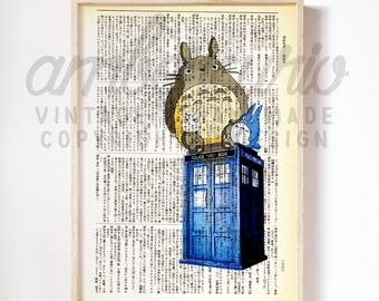 Totoro and Friends Tardis Doctor Who Inspired Collage Original Print on a Unique Unframed Upcycled Bookpaper
