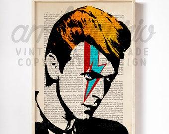 Star Man David Bowie Tribute Art Original Print on Unframed Upcycled Bookpaper