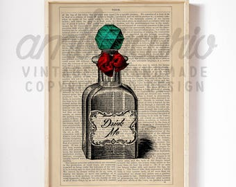 Drink Me Magic Potion Bottle Inspired by Alice in Wonderland Print on an Unframed Upcycled Bookpage