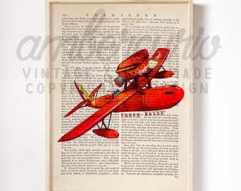 Porco Rosso Marco Pagott Flying Ace Studio Ghibli Inspired Art Print on an Antique Unframed Upcycled Bookpage