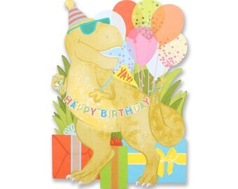 Dinosaur Happy Birthday Die Cut Card