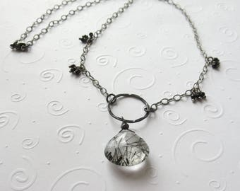 AAA Black Rutilated Quartz Briolette Necklace with Black Spinel