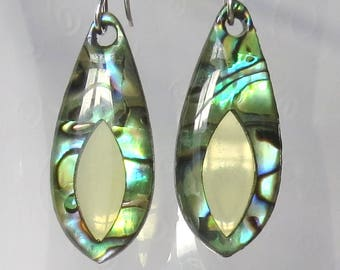 Paua or Abalone Shell Eye Sterling Silver Earrings