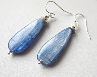 Kyanite Teardrop Sterling Silver Earrings