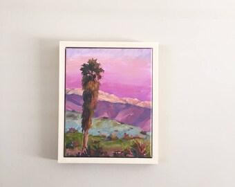 Pink Moment,Ojai Painting, Palm tree painting,Ojai Pink Moment,Palm Tree Art,Ojai art,  Painting of Ojai, Ojai Mountains, Landscape