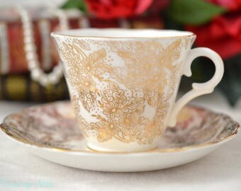 Colclough White Teacup And Saucer Set With Gold Floral Overlay, English Bone China Tea Cup Set, ca. 1935-1937