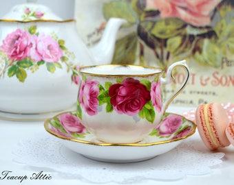 Royal Albert Old English Rose Teacup And Saucer, English Bone China Tea Cup Set, Replacement China, ca. 1950