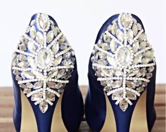 Custom Bridal Satin Open Toes Platform Heels, Bridal heels, Wedding shoes, Prom, Evening shoes, Blue Shoes, Rhinestone shoes