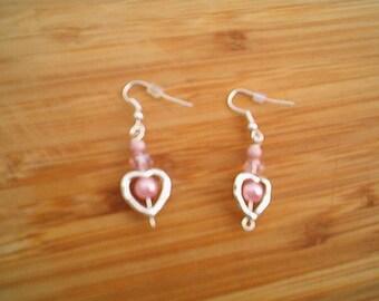 PRETTY PINK Pearl Earrings, Heart Earrings, Pierced Drop Earrings, Dainty, Demure Earrings, June Gift, June  Birthstone Pearls