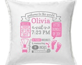 Baby Room Decor - Personalized Baby Girl Gift - Birth Stats Pillow Cover - Baby Girl Nursery Decor - Birth Announcement Pillow Cover