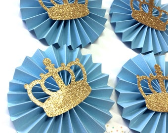 Little Prince Party Decorations | Baby Blue and Gold Glitter Crown | Prince Baby Shower | Gold Crown Paper Rosette | Royal Prince Party