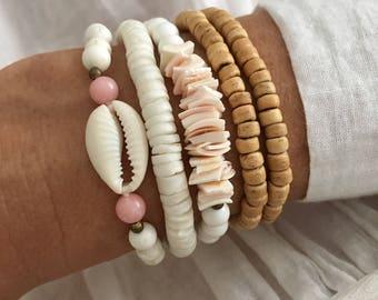 shell bracelets, bohemian jewelry, gypsy mermaid beach accessories, beach bracelets
