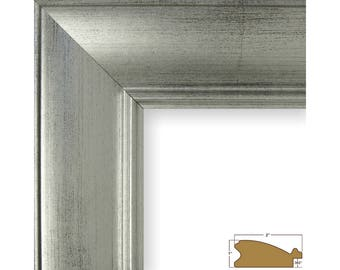 """Craig Frames, 8x10 Inch Brushed Silver Picture Frame, 2"""" Wide (2123130810)"""