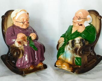 Retirement Fund Banks Elderly Couple Cat Dog Ceramic Rockers