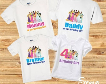 Princess family shirts, birthday girl,  birthday girl shirt, family princess, family shirts, birthday party, disney princess, princesses