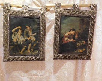 """Beautiful Pair of Vintage Wall Hangings - 12-1/2"""" x 17-1/2"""" - Silkscreen (?)  Picture with Metallic Frames - Lined"""