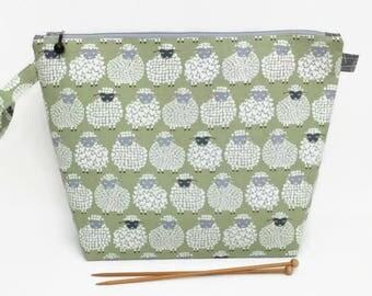Medium Wide-Mouth Wedge Bag - Sheepish Grin on Green
