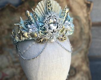 Bridal Crown - Shell Crown - Festival Crown - Mermaid Crown - Crown - Bridal Headpiece - Mermaid Costume.