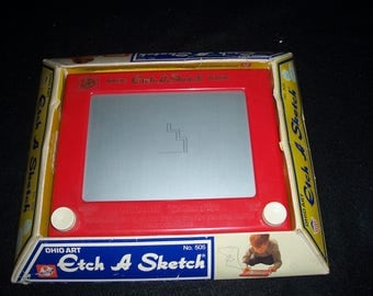 Original Mid Century Etch A Sketch by Ohio Art No. 505...Old School Classic Kids Toy...Etch A Sketch...