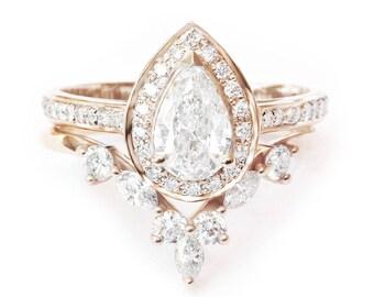 Pear Diamond Halo Engagement Ring + Matching Marquise Crown Ring Side Band, 14k or 18k Gold Diamond Bridal Set, Diamond Engaement Set