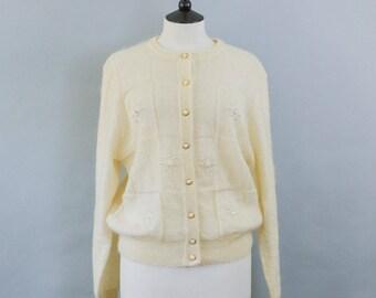 Vintage 90's C&A Cream Grunge Mohair Blend Embellished Cardigan Large UK 16 18