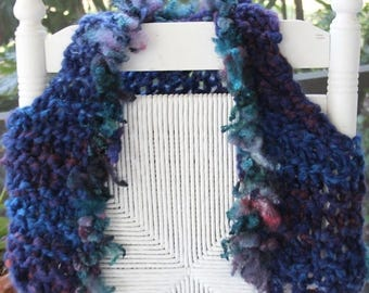 XMAS IN JULY up to 50%off Hand Knit Designer Vest -Super Bulky Yarn in Shades of blue made of Handspun Super Bulky Yarn and Locks