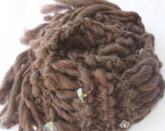 XMAS IN JULY up to 50%off Sale Hand Knit Scarf, in Brown with Blue Flowers of Super Soft Handspun Hand Dyed Yarn