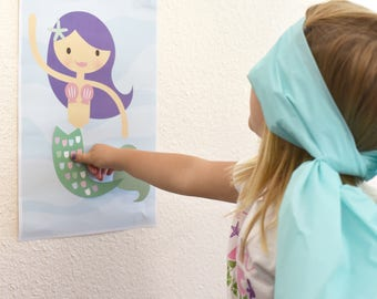 INSTANT DOWNLOAD - Pin the Tail on the Mermaid, Mermaid Party Games, Mermaid Birthday