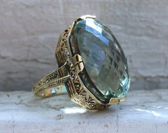 Lovely Vintage 14K Yellow Gold Green Amethyst Ring - 30ct.
