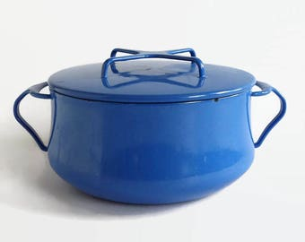 Vintage Dansk Kobenstyle Enamel, Covered Casserole Pot, Small Blue  Dutch Oven