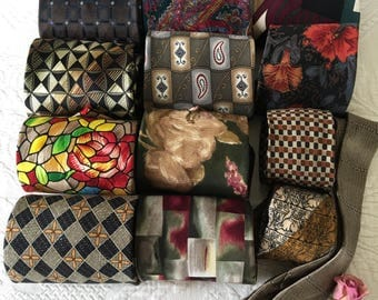 Vintage Brown SILK TIE Collection. Mens Silk Ties to Repurpose for Sewing and Crafting Projects or for Menswear. Silk Mens Ties.
