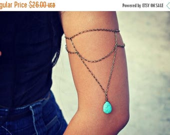 VACATION SALE turquoise arm bracelet, turquoise armlet, upper arm chain, body chain, unique jewelry