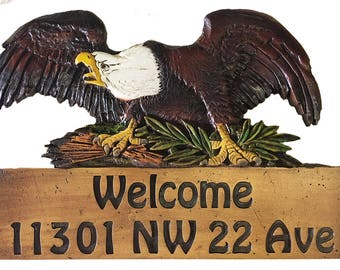 Eagle Carved Personalized Sign