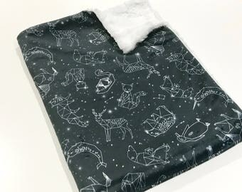 Navy Blue Constellation Minky Baby Blanket, Jungle Baby Quilt, Geometric Animals Baby Blanket, Baby Shower Gift, Astronomy Baby Blanket