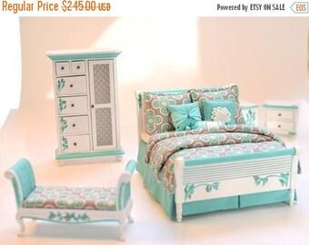 SPECIAL SALE MINT & Grey Art Deco Hollywood Regency 5pc Handpainted Dollhouse Miniature Bedroom Bed Set 1:12