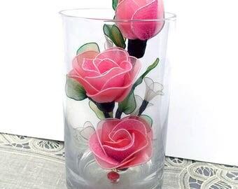 Handmade Small Dark Pink Rose Arrangement,Nylon Flower,  Nursery Décor, Wedding Décor, Handmade Flowers, Gifts for Girl, Floral  Tabletop