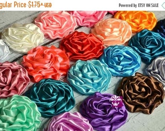 ON SALE The Liz Collection - Large Shimmery Satin Ruffled Rolled Rossettes - You Pick Colors - DIY Flower Headbands Garters Sashes - Wedding