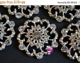 ON SALE FLATBACK Large Rhinestone Metal Crystal Clear Embellishment 32mm - Flower Centers - Buttons - Wedding Bridal Prom Wholesale Jewels C