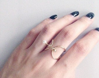 ON SALE Thin band pearl & gold ball bar ring - stacking ring
