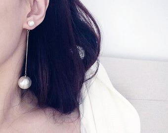 ON SALE Gold dangle pearl threader front back earrings - pearl ear threader