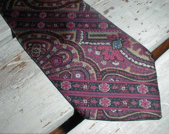 Wembley Pure Silk Necktie *Intricate Design* Purple Blue Gold Colours