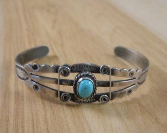 Fred Harvey Era Vintage Sterling Silver Bracelet / Turquoise Cuff / Stamped Native American Jewelry