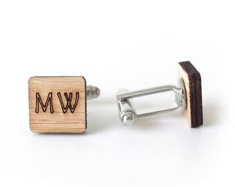 FIVE PAIRS of customized cufflinks - initials wedding cufflinks - name initials - personalised wooden cufflinks - groomsmen cufflinks