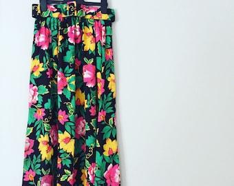 90s Floral Midi Skirt
