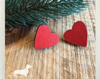 Wood Heart. Post Earrings -- (Love, Red, I Love You, Simple, Vintage-Style, Valentine's Day Gift, Heart Earrings, Birthday Gift, Under 10)
