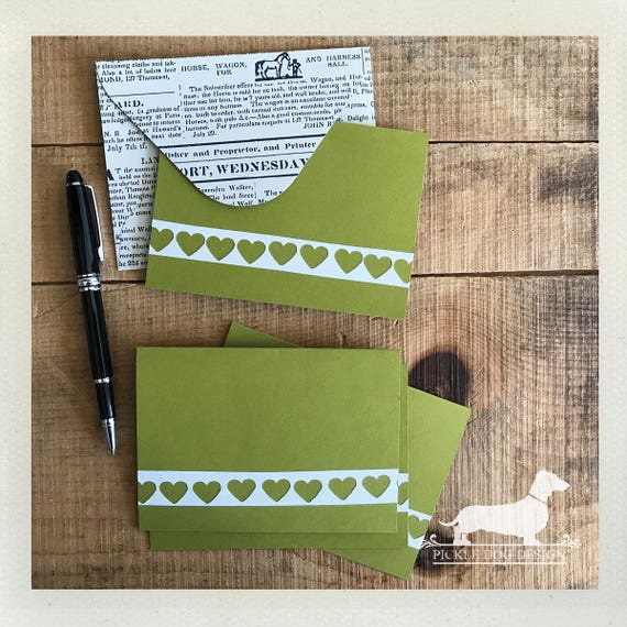 DOLLAR DEAL! Green Heart. Note Cards (Set of 4)