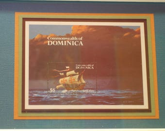Commonwealth of Dominica Framed Columbus Stamp