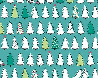 Mingle & Jingle - Jacobs Dujets - Christmas Trees - Ink and Arrow Fabrics - Dark Wintergreen-(25919 -Q) - 1 Yard